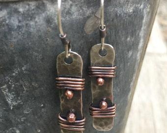 Artisan Earrings, Rustic Earrings,  Mixed Metal Jewelry, Silver Earrings, Sterling Silver Earrings