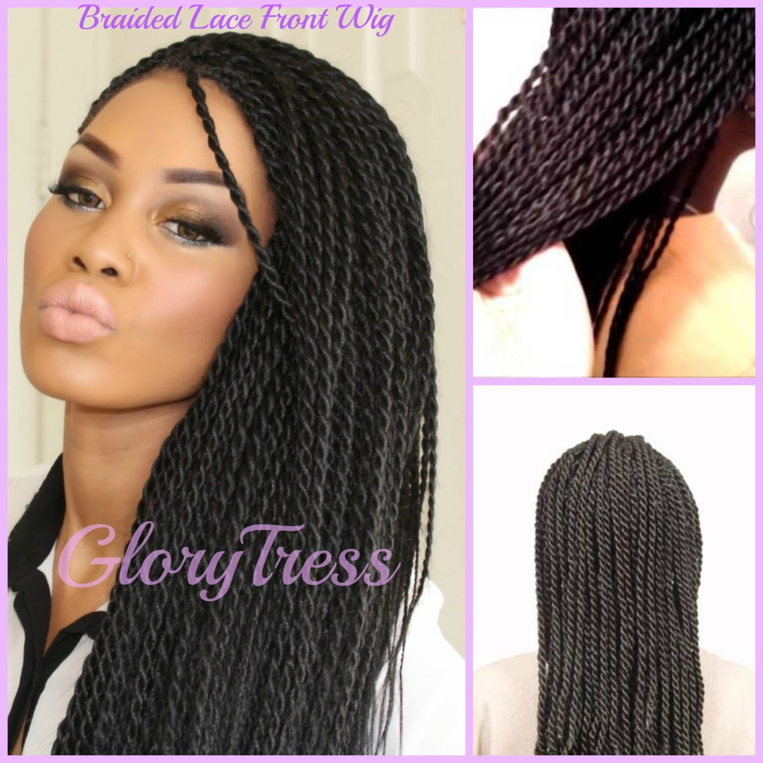On Sale Senegalese Twists Braided Lace Front Wig By