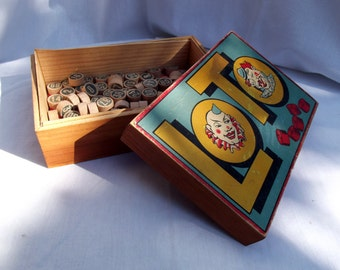 Lotto/ Bingo Game, clown motif French Vintage original Box with Cards and Tokens