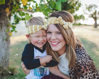 Mommy and Me Fall Mustard Lace Detail Top Knot Headbands--Top Knot--Mustard Top Knot--Mommy and Me--Top Knot Set