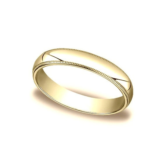 14k Yellow Gold 4mm Miligrain Band Wedding Band Rings For