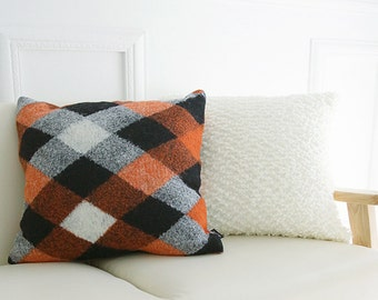 """Orange Diamond Pattern Wool Blended Square Accent Throw Cushion  18"""" X 18"""""""