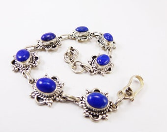 Marvelous Lapis Lazuli 925 Sterling Silver Bracelet Handmade Indian Jewellery Blue by AmoreIndia