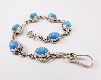 Beautiful Turquoise 925 Sterling Silver Bracelet Handmade Indian Jewellery Sky Blue by AmoreJewels