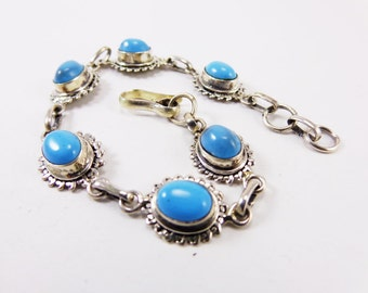Lovely Turquoise 925 Sterling Silver Bracelet Handmade Indian Jewellery Sky Blue by AmoreJewels