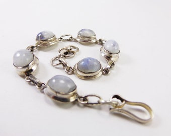 Marvelous Rainbow Moonstone 925 Sterling Silver Bracelet Handmade Indian Jewellery White by AmoreJewels