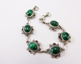 Beautiful Malachite Moonstone 925 Sterling Silver Bracelet Handmade Indian Jewellery Green by AmoreJewels