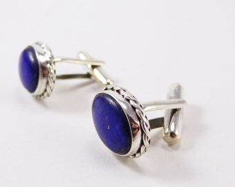 Marvelous Lapis Lazili Sterling Silver 925 Handmade Cufflinks Mens Jewellery Blue by AmoreJewels