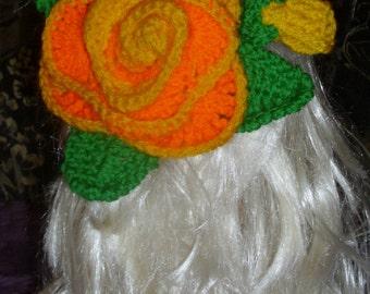 Hand Crocheted Big Flower Hair Clip,hair accessory,crochet hair accessory,big hair accessories, boho hair accessory