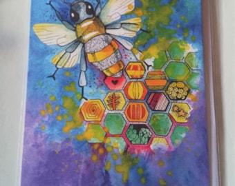Beautiful Honey Bee - Blank Greetings Card