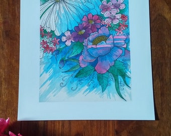 Watercolour Blue and Pink flowers 10 x 8 inch print