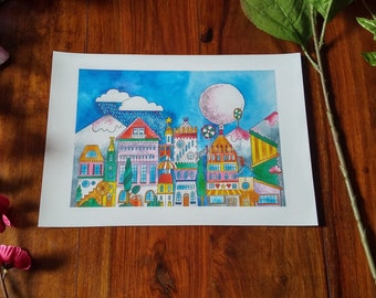 A4 watercolour quirky houses print.