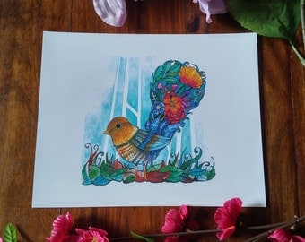 Watercolour print 10 x 8 inch , bird with wonderful tail of flowers print.