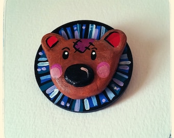 Handmade,painted,air-dry clay and wooden bear brooch.