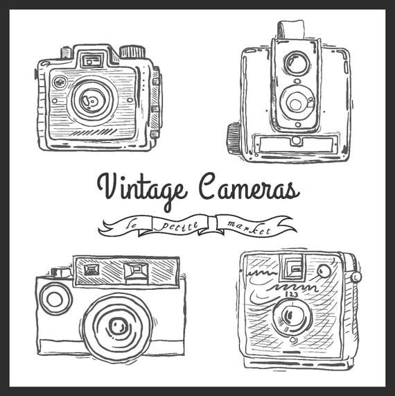 Cute Hand Drawn Camera Clip Art vintage Illustration Camera