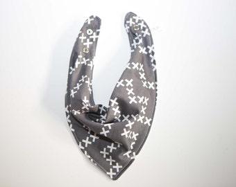Bandana Bib -  Grey & White Cross - Gender Neutral