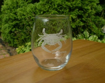 Blue crab stemless 9 ounce wine glasses, set of 4, silk screened