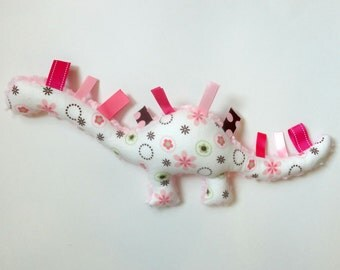 Toddler Tag Toy - Dinosaur Tag Toy - Ribbon Dinosaur - Minky Dino - Soft Baby Toy - Dinosaur Plush - Pink Minky Dino - Flannel Dinosaur