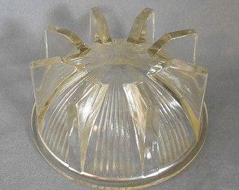 YELLOW ART DECO Footed Glass Bowl, Circa 1920s