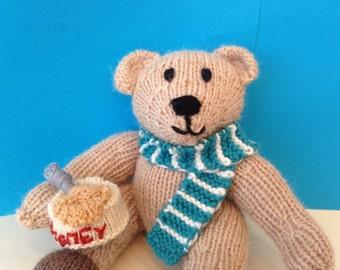 Knitted woollen Teddy bear. Traditional knitted Teddy bear.