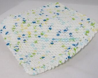 Handknit dishcloth, 100 percent cotton dishcloth, handknit cotton facecloth, handmade potholder, kitchen towel, knit towel, knit washcloth