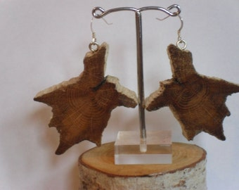 Oak wood earrings, oak earrings, rustic oak earrings,  oak wood  jewellery, anaversary gift