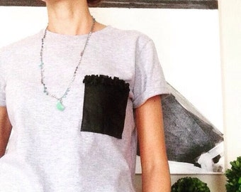 Pocket t shirt with hand applied and ruffles in solid