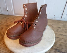 Vintage French handmade childs brown leather boots wooden soles size 27