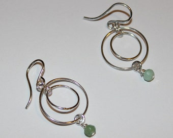 Sterling Silver & Chrysophase Earrings