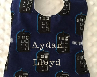 Personalized Baby Bib, Baby and Toddler Feeding Bib- DOCTOR WHO Tardis