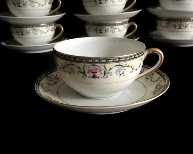 Noritake Porcelain Teacups - Mayville Pattern