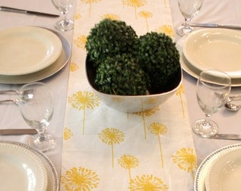White with Yellow Flowers Table Runners