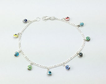925 Sterling Silver Evil Eye Bracelet, Evil Eye Bracelet Multicolor Glass Beads 4mm Round, Evil Eye Jewelry, Gift for Women  Silverbar55
