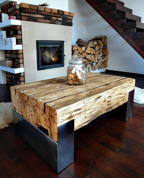 Unique Coffee Tables Furniture: Handmade Reclaimed Farmhouse Style Wood & Steel By