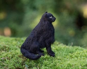 Black cat needle felted handmade wool animal