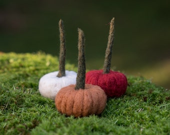 pumpkins needle felted handmade wool trio multicolored #003