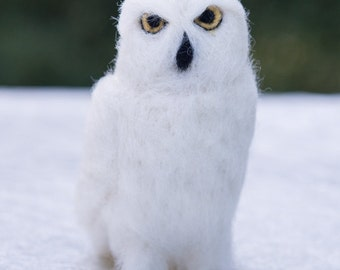 Snowy Owl needle felted handmade wool bird