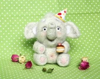 Cute Birthday Little Elephant, Needle Felted Wool Elephant Art Doll, Animal Figurine, Natural Wool Elephant, Birthday Gift