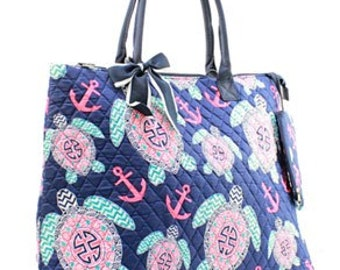 FREE SHIPPING Personalized Quilted Preppy Turtle Overnight Bag