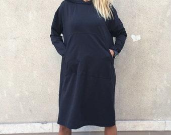 New Black Hooded Cotton Sweatshirt, Extravagant Warm Woman Top, Maxi Front Pocket Hoodie, Sport Tunic by SSDfashion