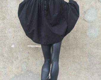 Women Asymmetric Shirt, Black Loose Shirt, Plus Size Tunic Top, Urban Style Shirt, Extravagant Sleeves Top by SSDfashion