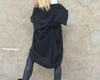 Asymmetric Black Casual Jacket, Extravagant Maxi Vest, Oversize Cardigan Coat With Zipper by SSDfashion
