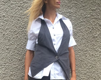Extravagant Women's Gray Vest, Elegant Sleeveless Vest, Asymmetric Cotton Buttons Vest by SSDfashion