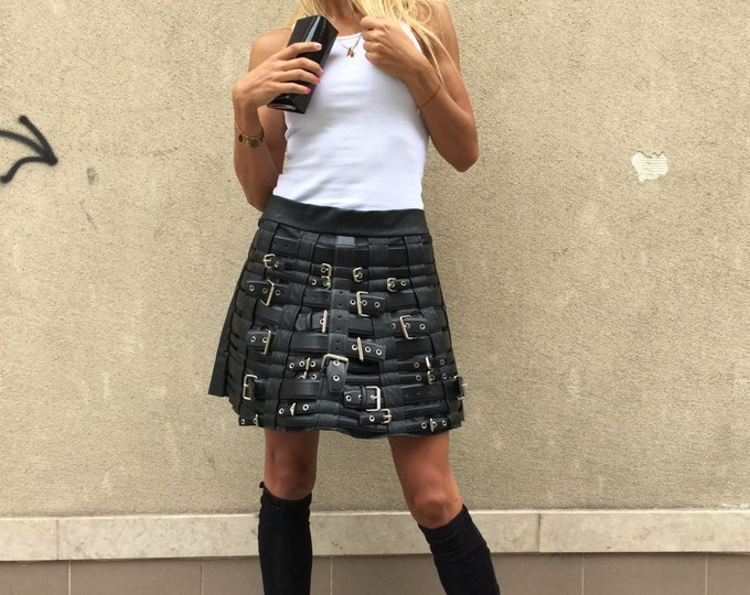 Women's Black Leather Skirt - Limited Edition, Loose Maxi Skirt, Oversize Extravagant Skirt With Belts By SSDfashion