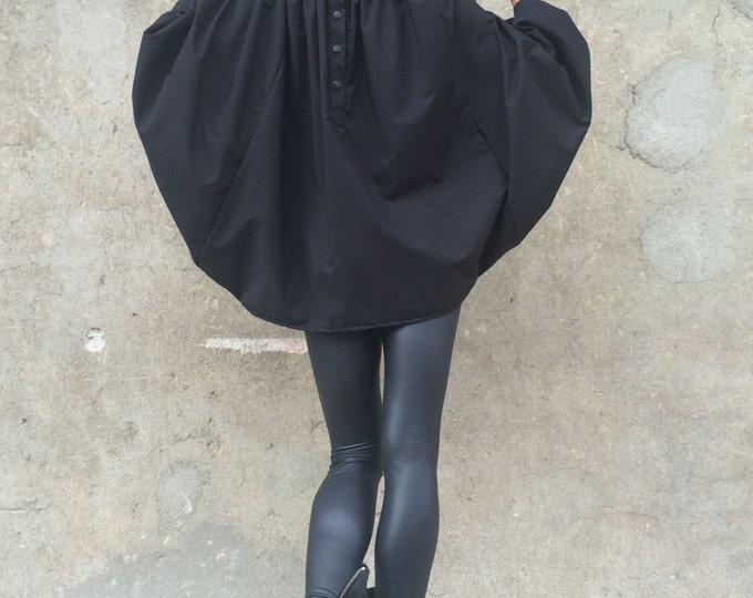 Shirt, Womens Asymmetric Shirt, Black Loose Shirt, Plus Size Tunic Top, Urban Style Shirt, Extravagant Sleeves Top by SSDfashion