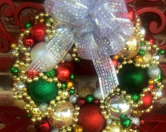 "Christmas Wreath 13"" X 13"" in Traditional Christmas Colors"