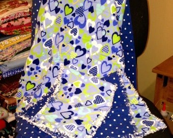 Receiving Blanket and 2 Burp Cloths, rag quilt style - Baby Blanket - Blue, Polk-a-dot, hearts