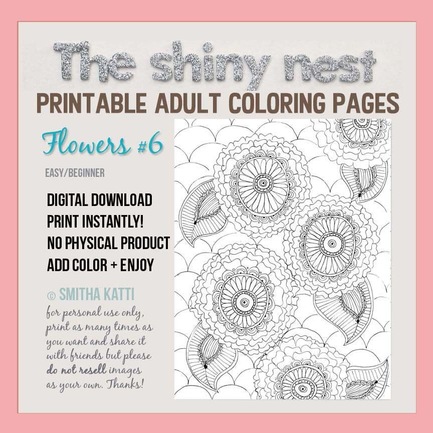 Stress Relief Coloring Flower Colouring Page By TheShinyNest