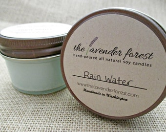 rain water // hand-poured 4oz jelly jar soy candle // natural soy wax // highly scented // rustic