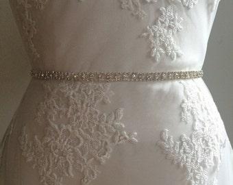 Art Deco Inspired Small Rhinestone Crystal Beaded Bridal Sash Belt-Smal Beaded Bridal Sash Belt -Crystal Beaded Rhinestone Bridesmaid Belt